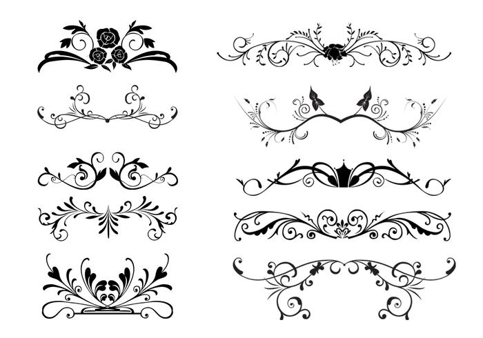 10 Floral Ornamental Border Brushes