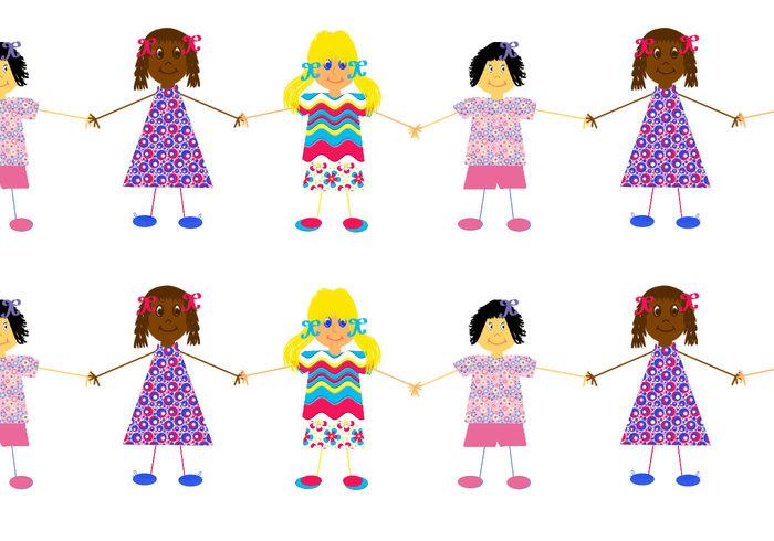 Barn byggare flickor håller händerna