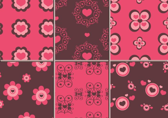 Pink & Brown Hearts Photoshop Patterns