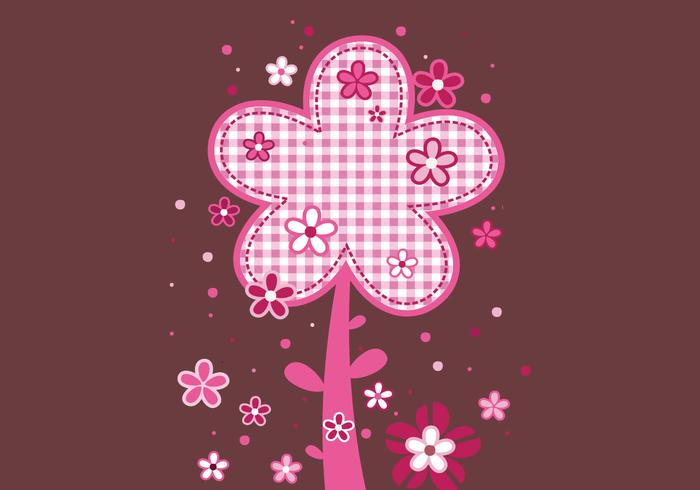 Pink Plaid Floral Background & Brush Pack