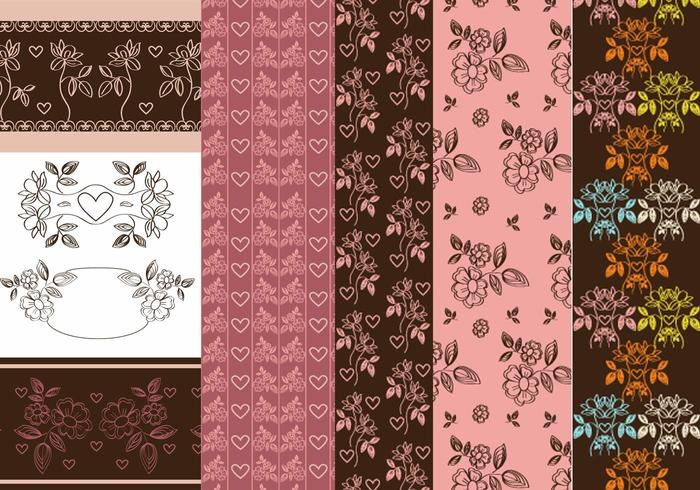 Vintage Heart and Flower Patterns & Brush Pack