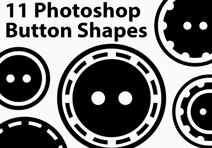 11 formas de botão do Photoshop Two-Hole
