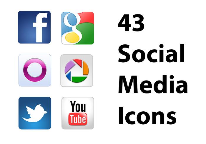 Ícones de mídia social PSDs