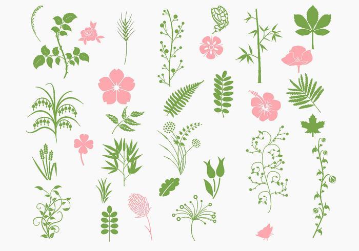 Rosa och grönt organiskt penselpaket