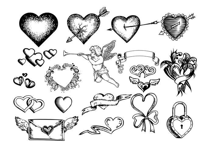 Pincéis gravados com corações