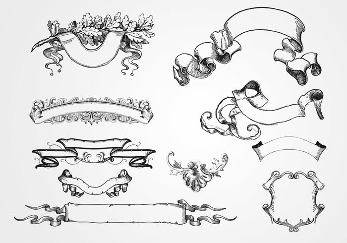 10 Etched Banner Brushes