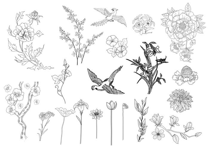 Etched Flower and Bird Brushes
