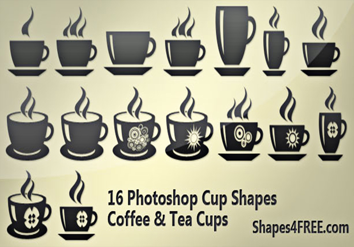 5 Beautiful Coffee & Tea Cup Photoshop Custom Shapes for Amazing Designs