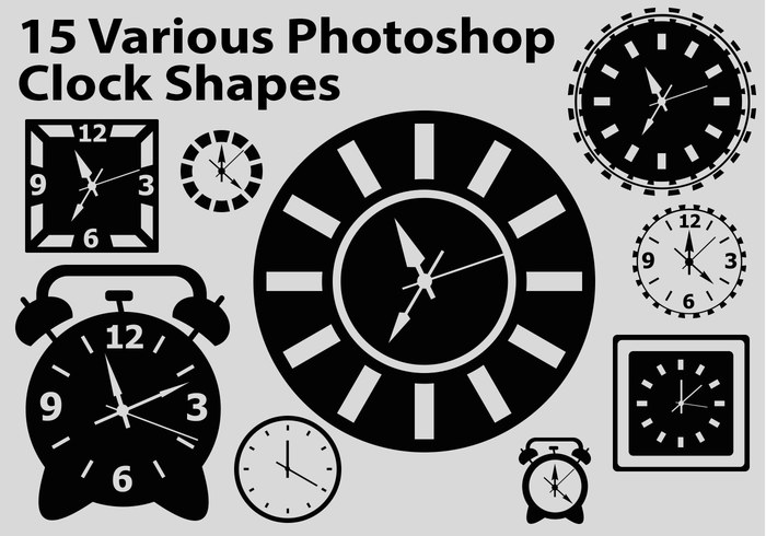 15 Photoshop Custom Shapes - Cute Clock Faces (CSH)