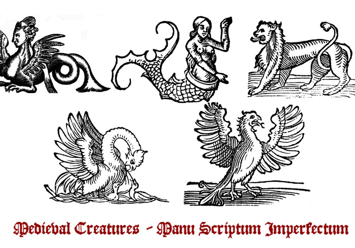 Pincéis de criaturas medievais