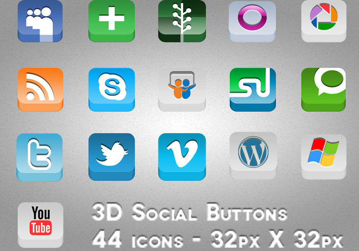 Botão Social 3D PSDs