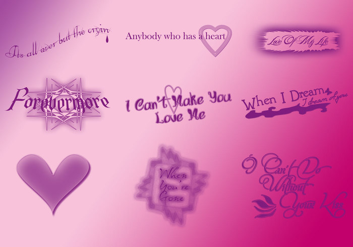 9 Large Sad Quotes Text Brushes