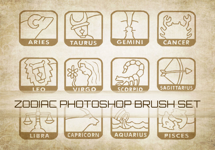 12 zodiacal brushes and shapes