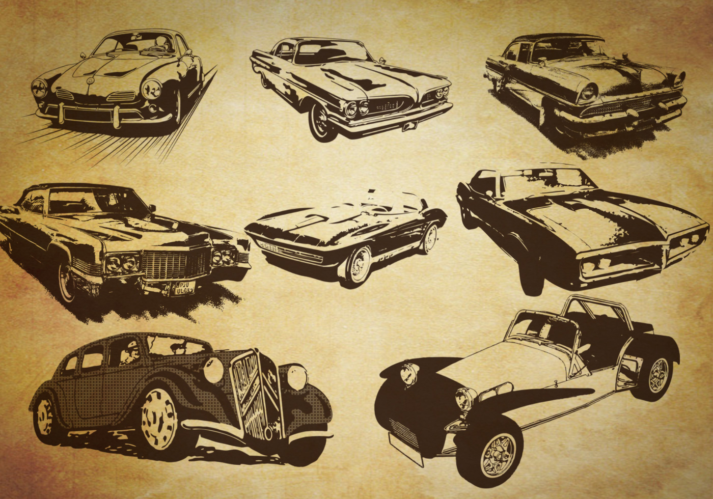 Free retro style car brushes for What is retro style