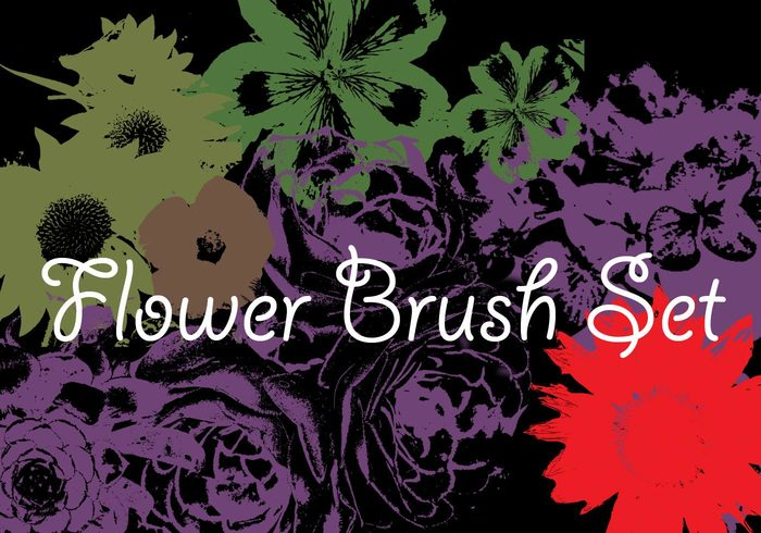 High Resolution Flower Brush Set