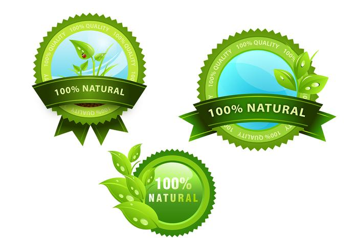 Green Natural Icon Badge Brushes