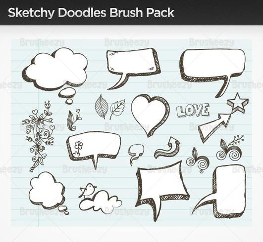 Sketchy doodle brush pack