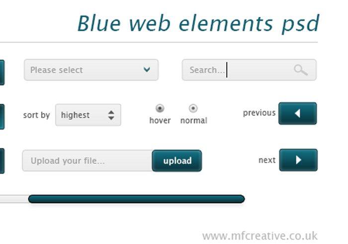 Elementos Web Blue PSD