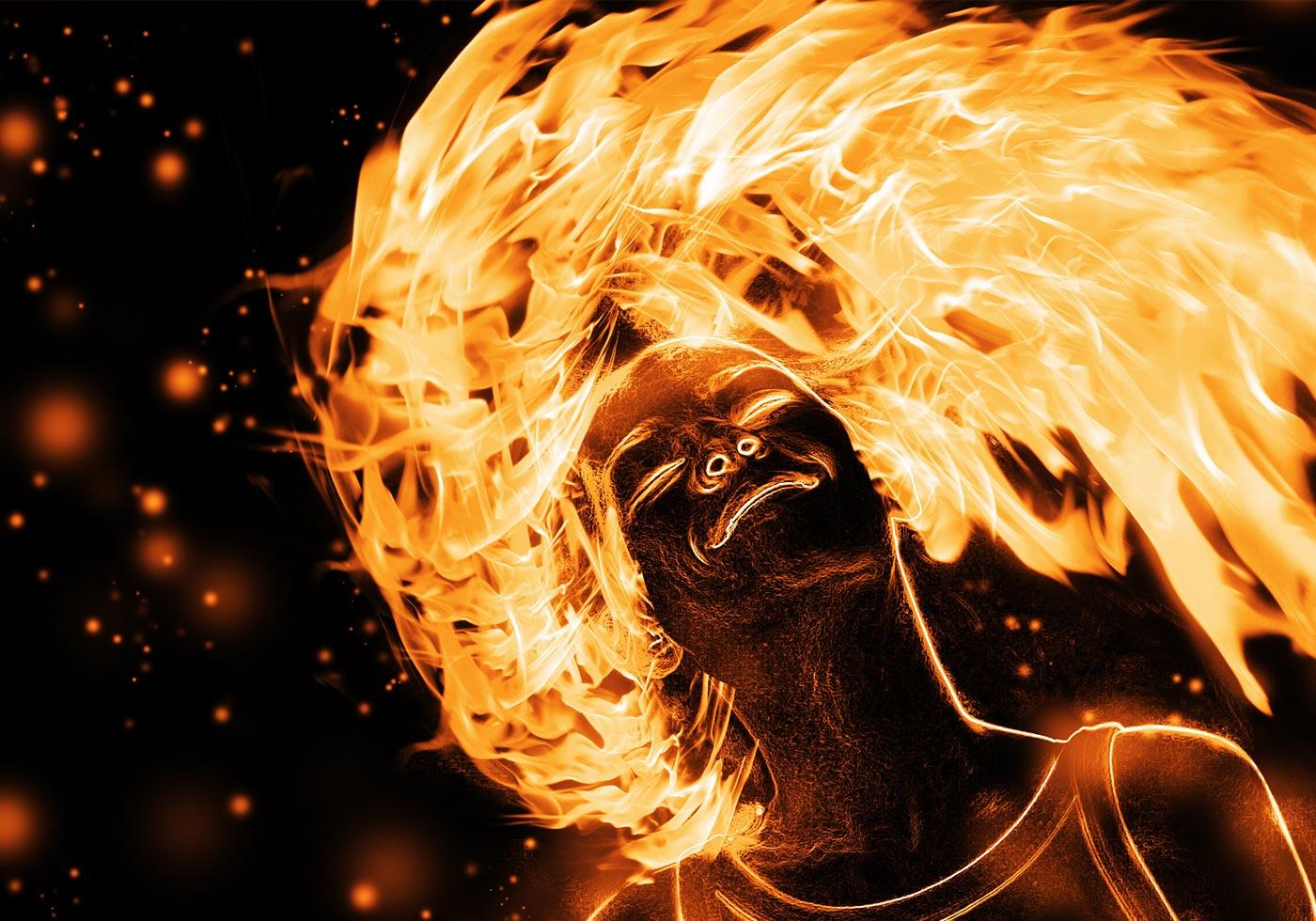 Free Flaming Girl PSD