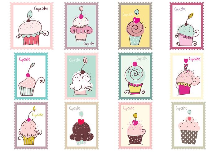 Cupcake Briefmarke Brush Pack