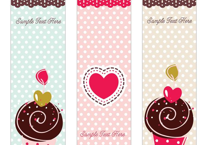 Doce retro cupcake photoshop banner set