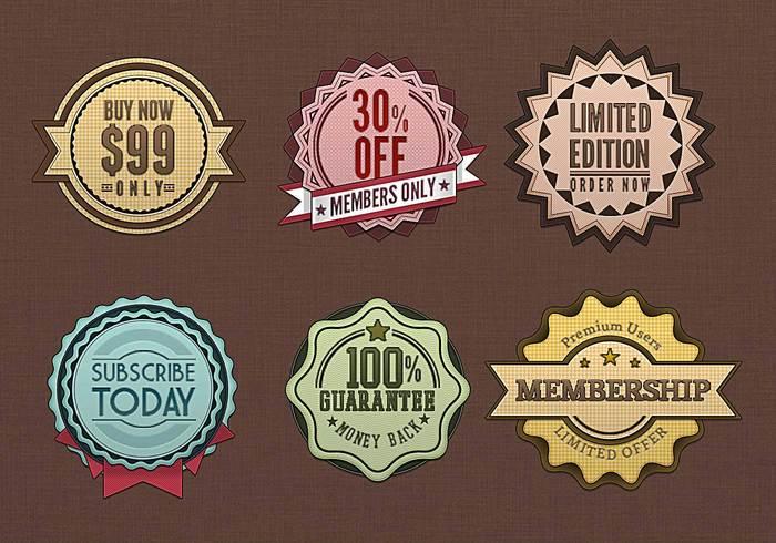 Retro badges vintage psds