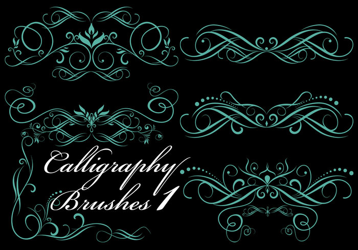 6 Hi Res Calligraphy Elements Pinceles para Photoshop PK1