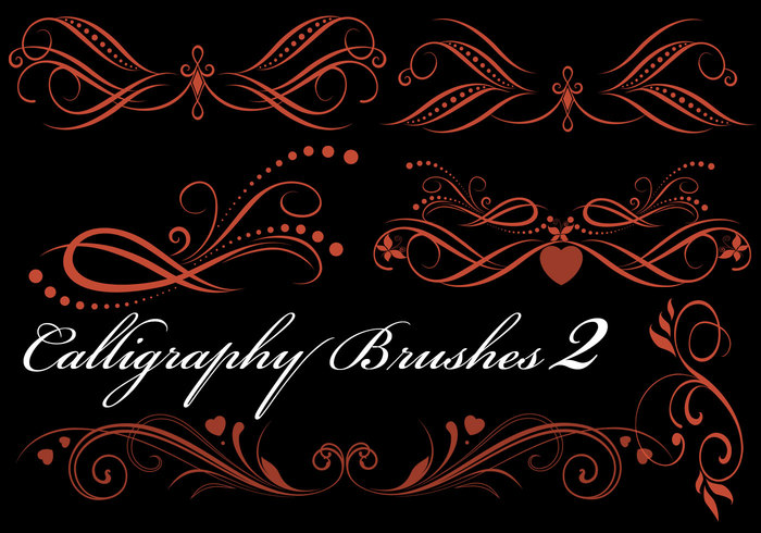 6 Hi Res Calligraphy Elements Pinceles para Photoshop PK2