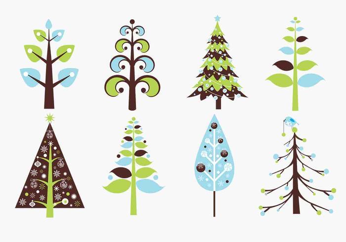 Pacote de escova de árvore de natal retro