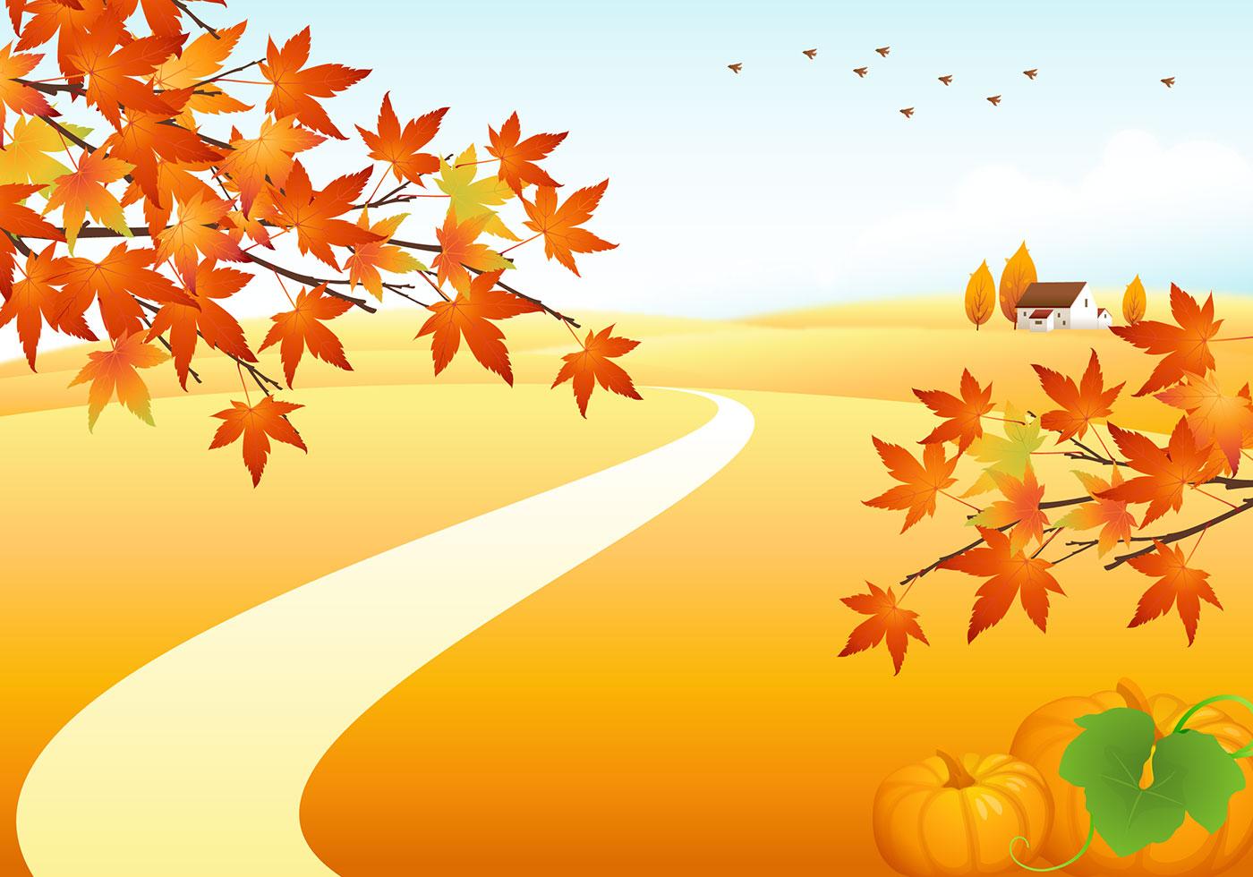 Landscape Illustration Vector Free: Autumn Landscape Photoshop Background