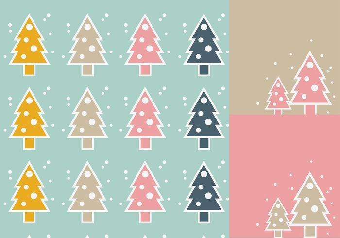 Papel pintado simple del árbol de navidad y paquete del cepillo