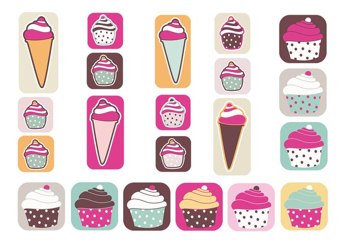 Cupcakes och Ice Cream Brush Pack