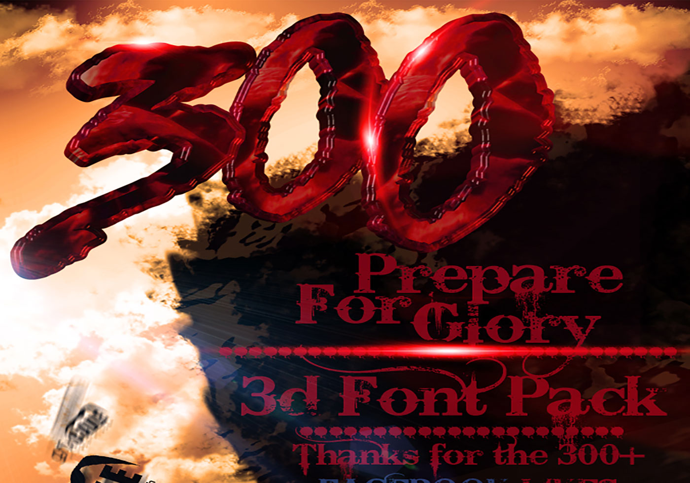300 The movie Inspired 3d Font - 235.7KB