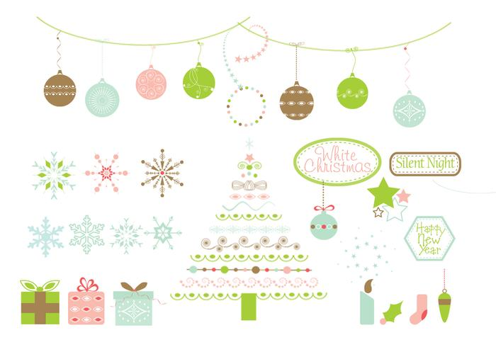 Conjunto de cepillos de elementos de diseño de Navidad