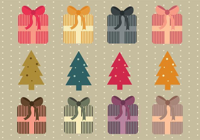 Pacote simples de presente de Natal e escova de árvores