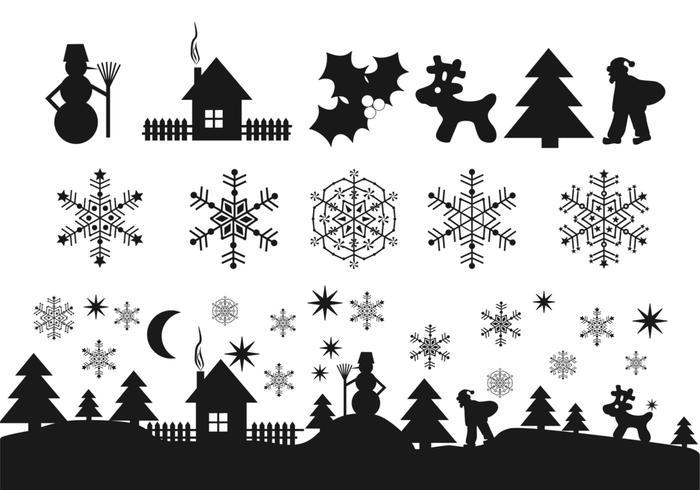 Zwarte Kerstpictogrammen Borstelpakket