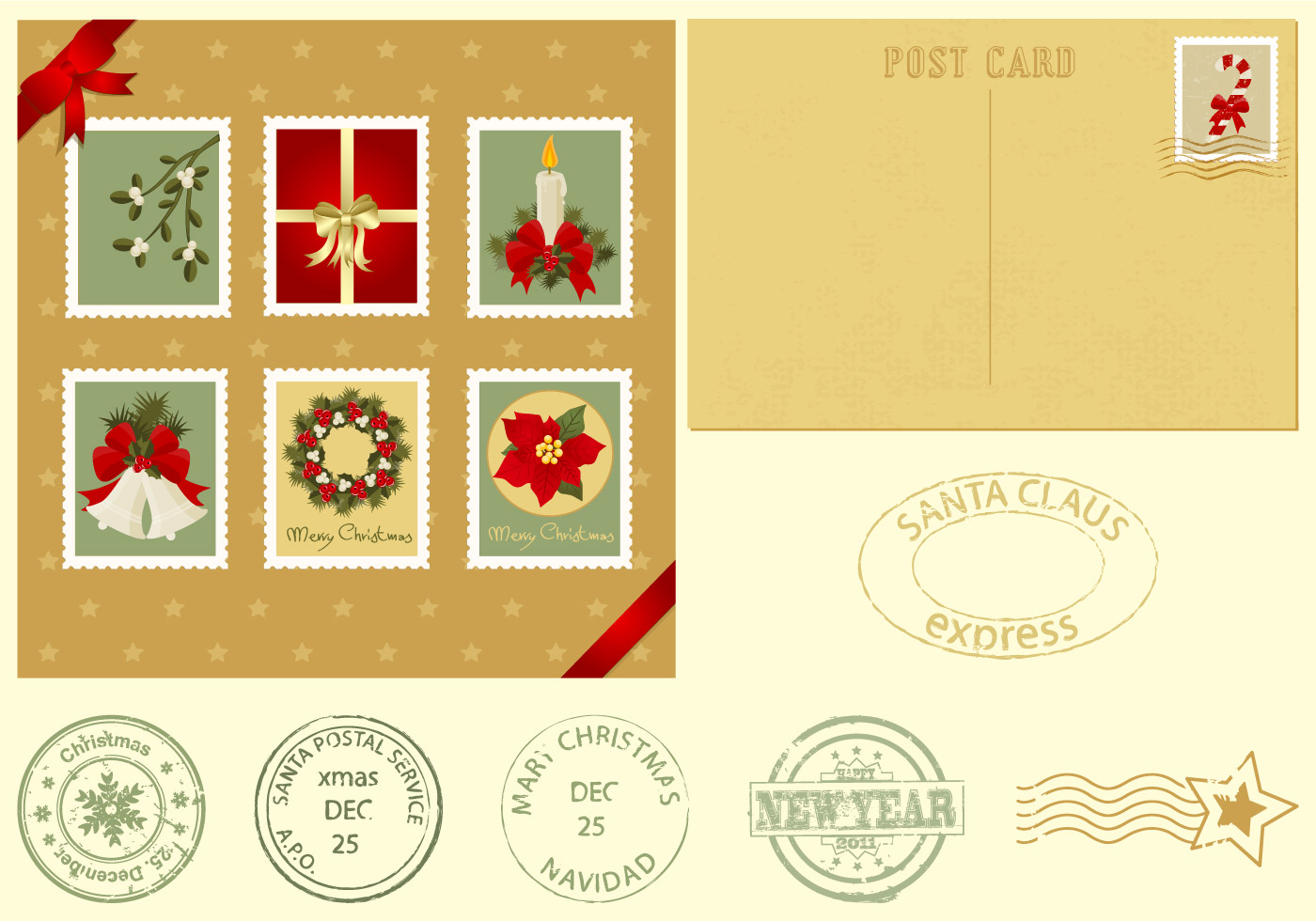 Christmas Postcard and Stamps Brush Pack - Free Photoshop Brushes at ...