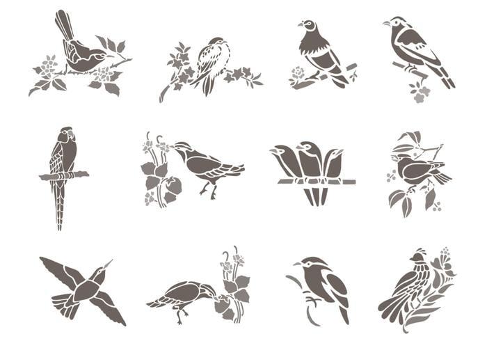 Paquete de cepillo floral del pájaro