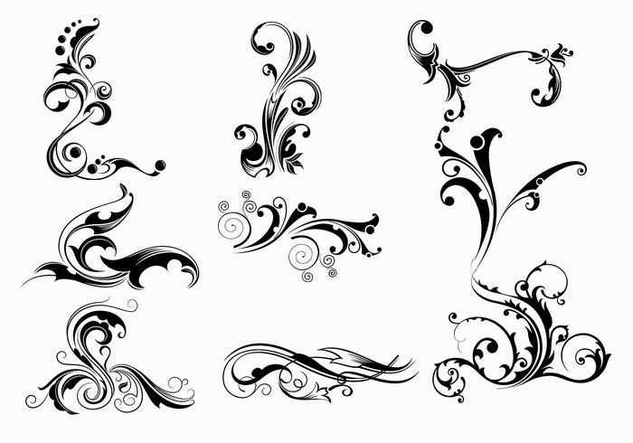 Nine Swirly Scroll Brushes