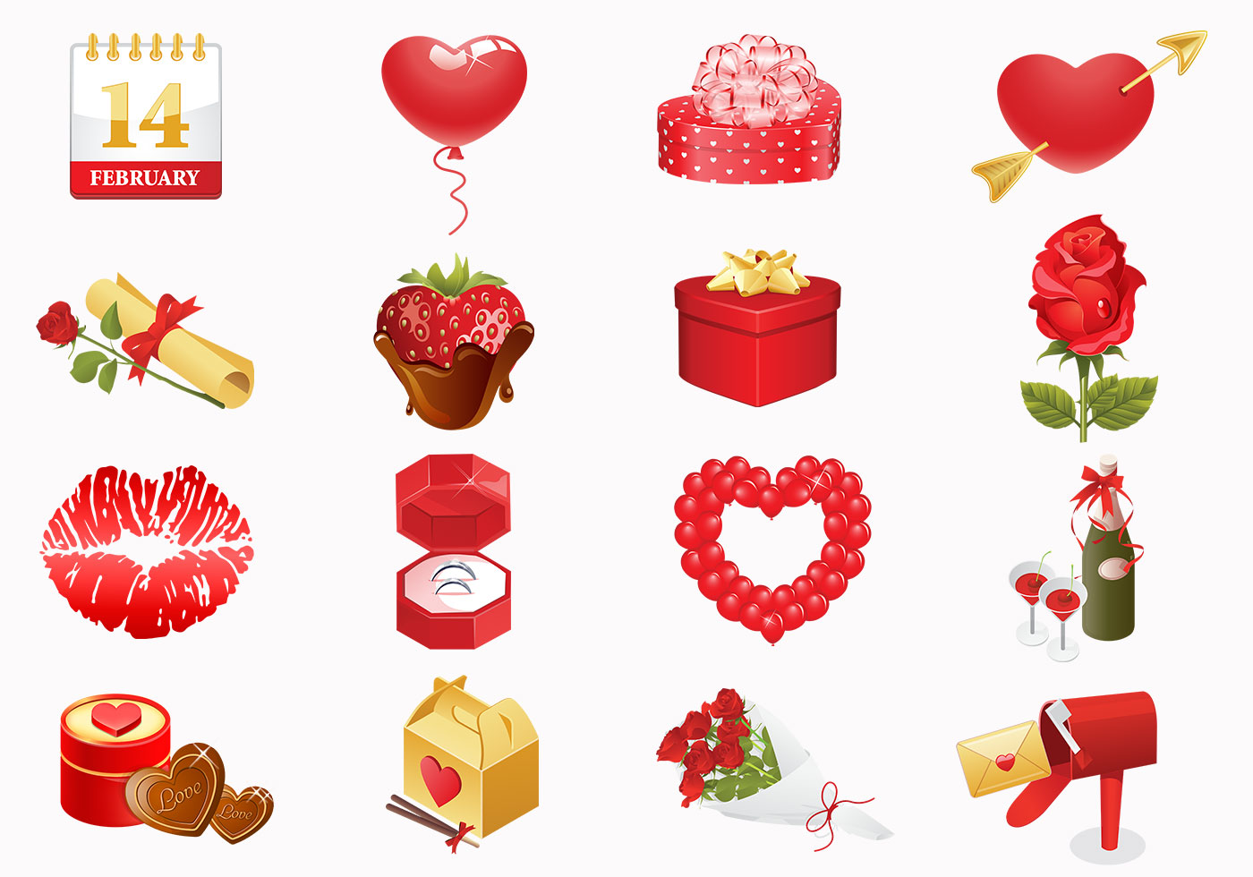 valentine s day icons brush pack   free photoshop brushes