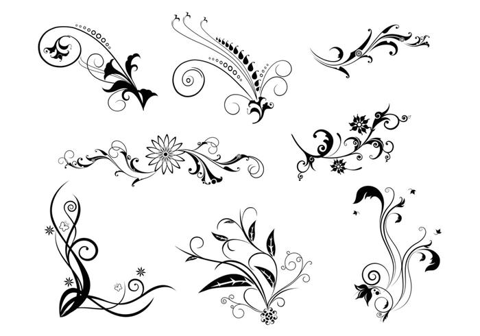 8 Floral Swirls Brush Pack