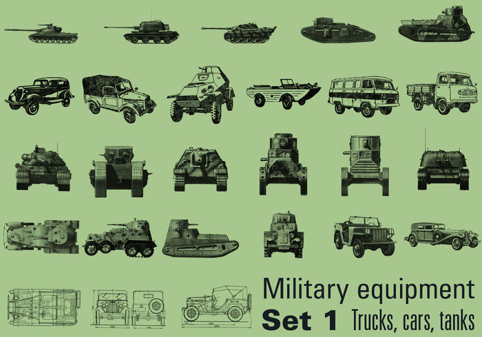 Military equipment Set 1 – Trucks, cars, tanks