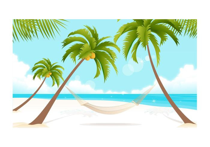 Beach and Palm Trees Wallpaper