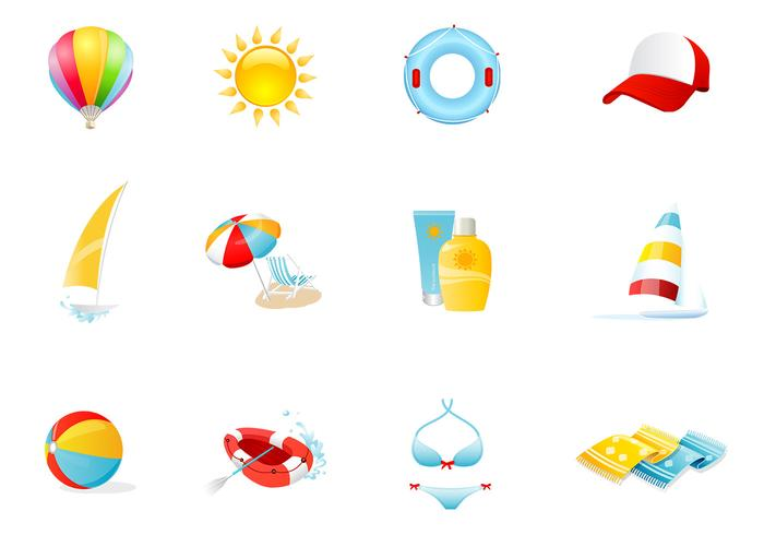 Iconos de playa PSD y PNG Pack