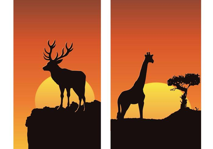 Pacote de papel de parede Animals at Sunset