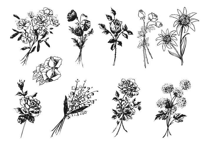 Gegraveerde Flower Brush Pack