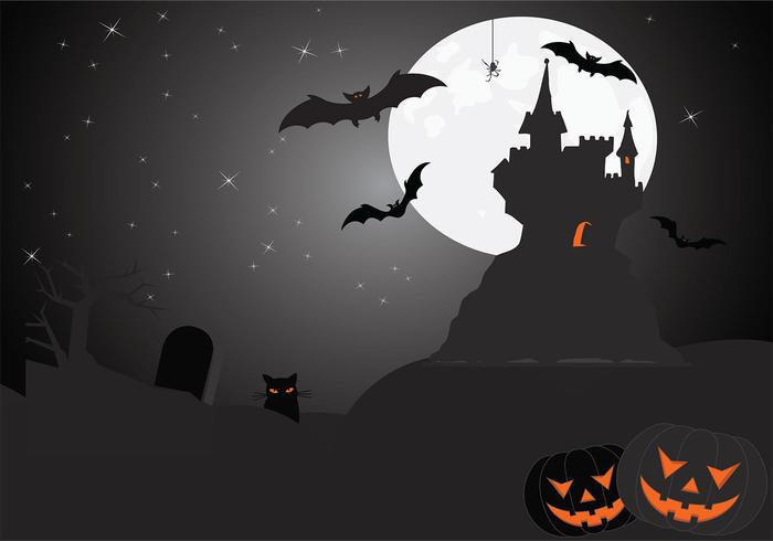 Eerie Halloween Wallpaper PSD