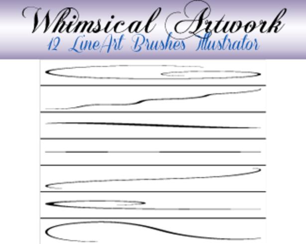 12 Fine Lineart Cepillos para Illustrator