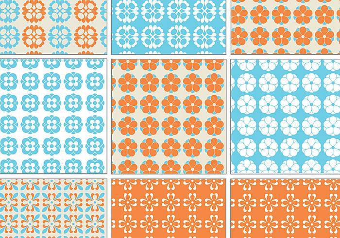 Blue and Orange Retro Patterns for Photoshop