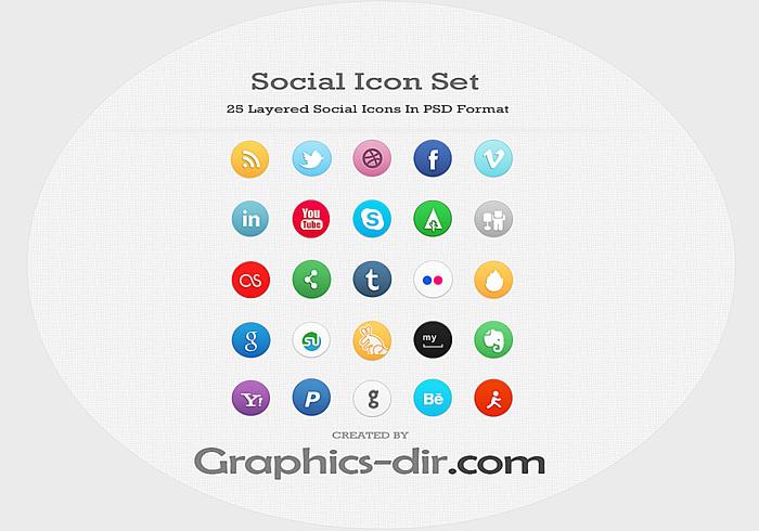 25 Social Icon PSD Set